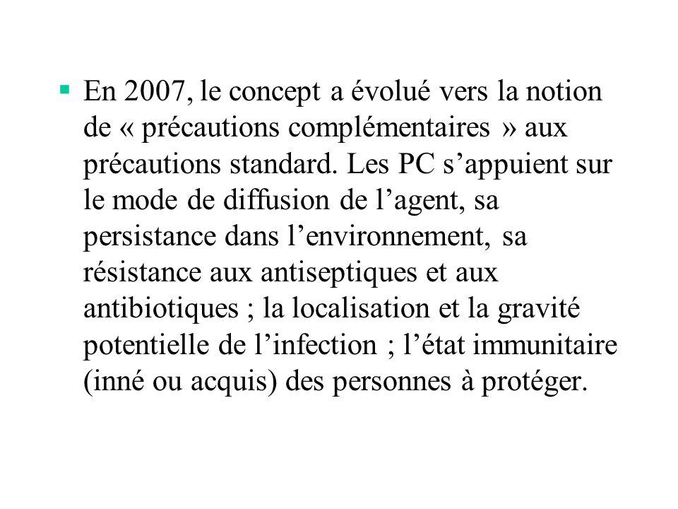 En 2007, le concept a évolué vers la notion de « précautions complémentaires » aux précautions standard.