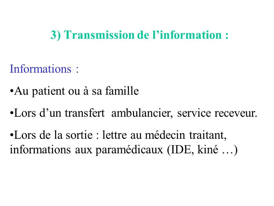 3) Transmission de l'information :