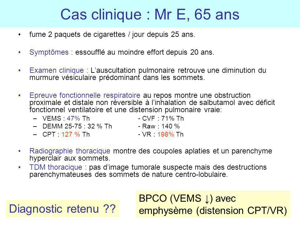 Cas clinique : Mr E, 65 ans Diagnostic retenu