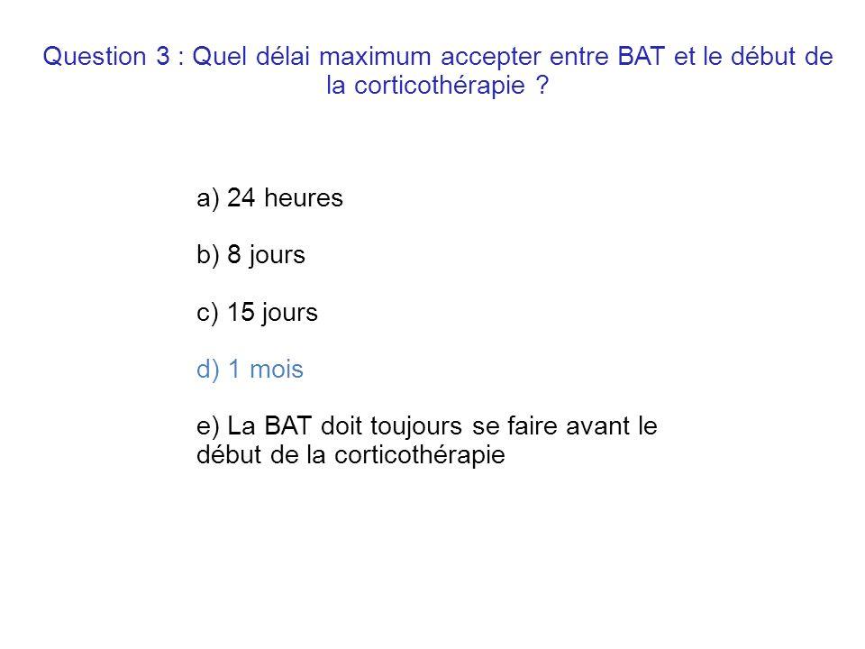 Question 3 : Quel délai maximum accepter entre BAT et le début de la corticothérapie