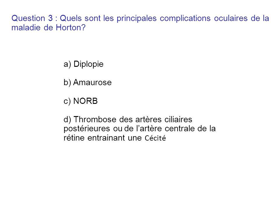 Question 3 : Quels sont les principales complications oculaires de la maladie de Horton