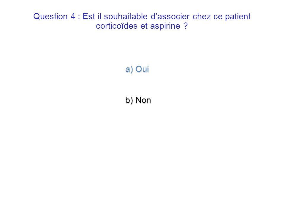 Question 4 : Est il souhaitable d'associer chez ce patient corticoïdes et aspirine