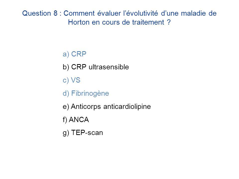 Question 8 : Comment évaluer l'évolutivité d'une maladie de Horton en cours de traitement