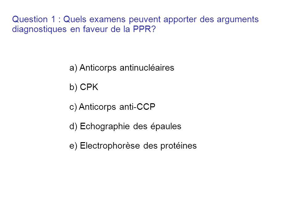Question 1 : Quels examens peuvent apporter des arguments diagnostiques en faveur de la PPR