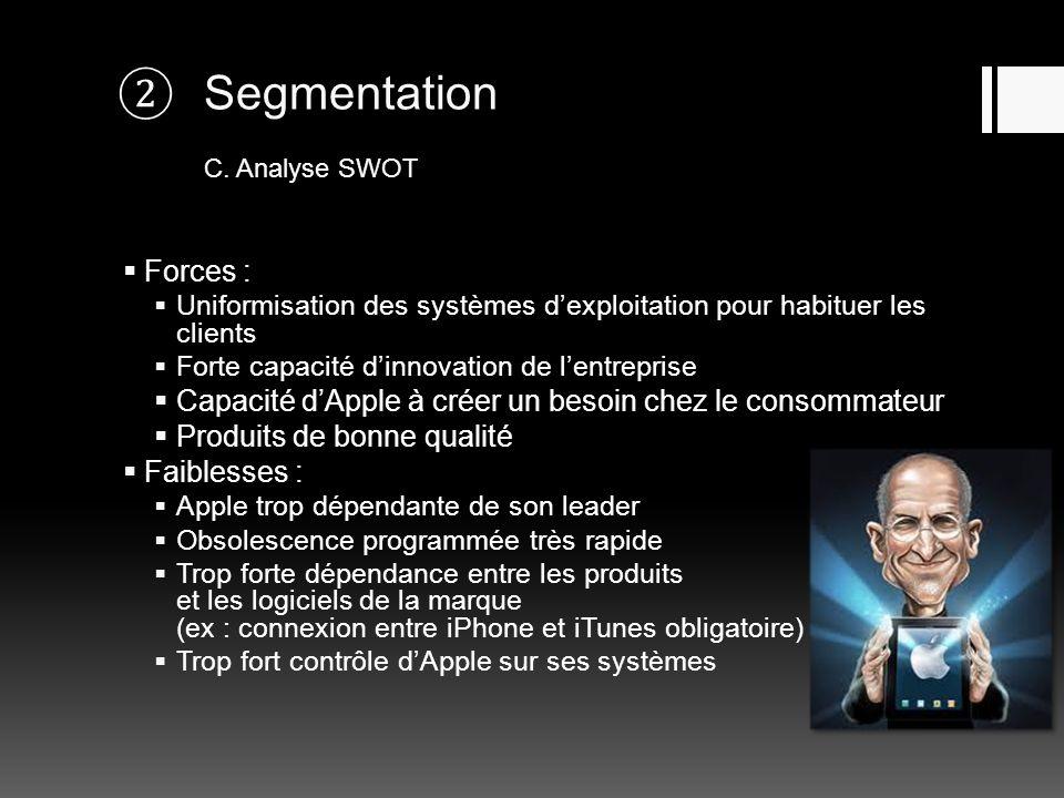 Segmentation C. Analyse SWOT