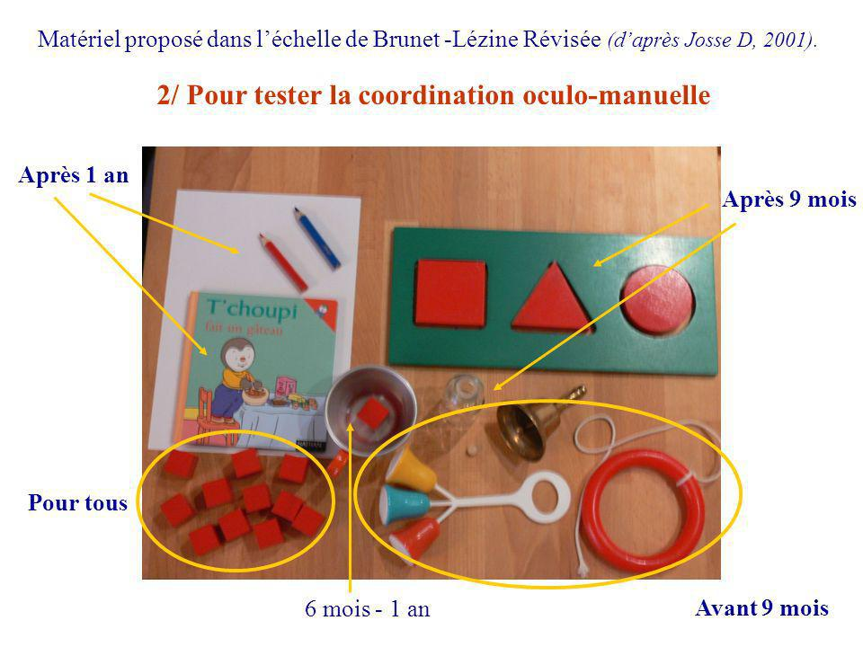 2/ Pour tester la coordination oculo-manuelle