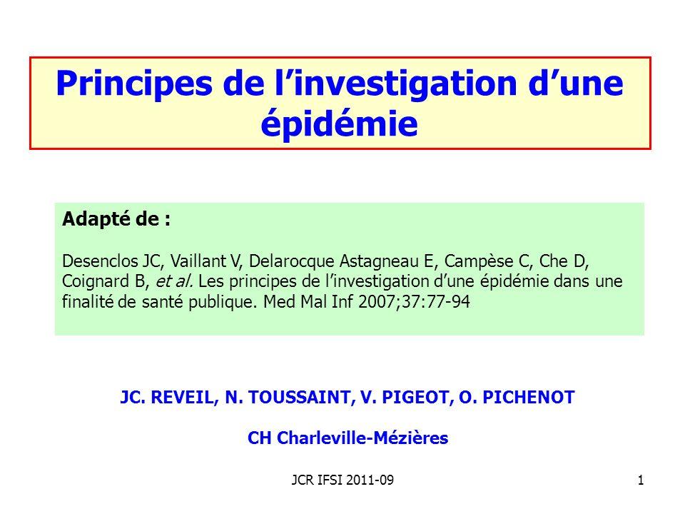 Principes de l'investigation d'une épidémie