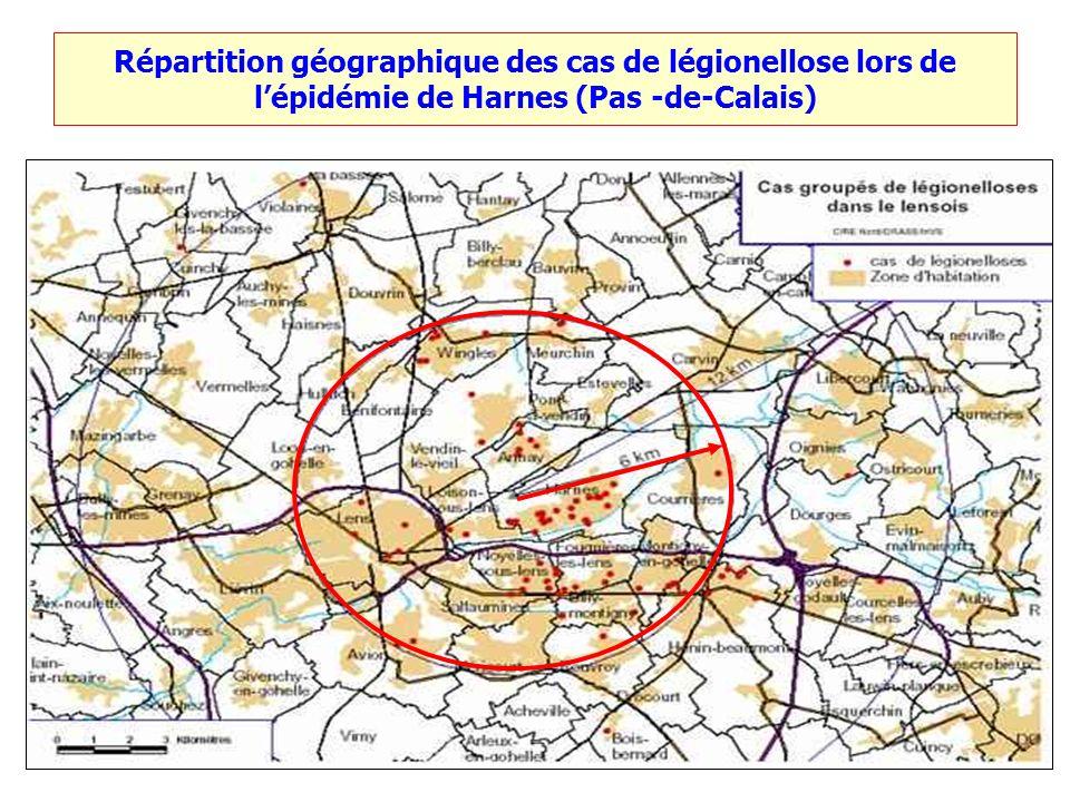 Répartition géographique des cas de légionellose lors de l'épidémie de Harnes (Pas -de-Calais)