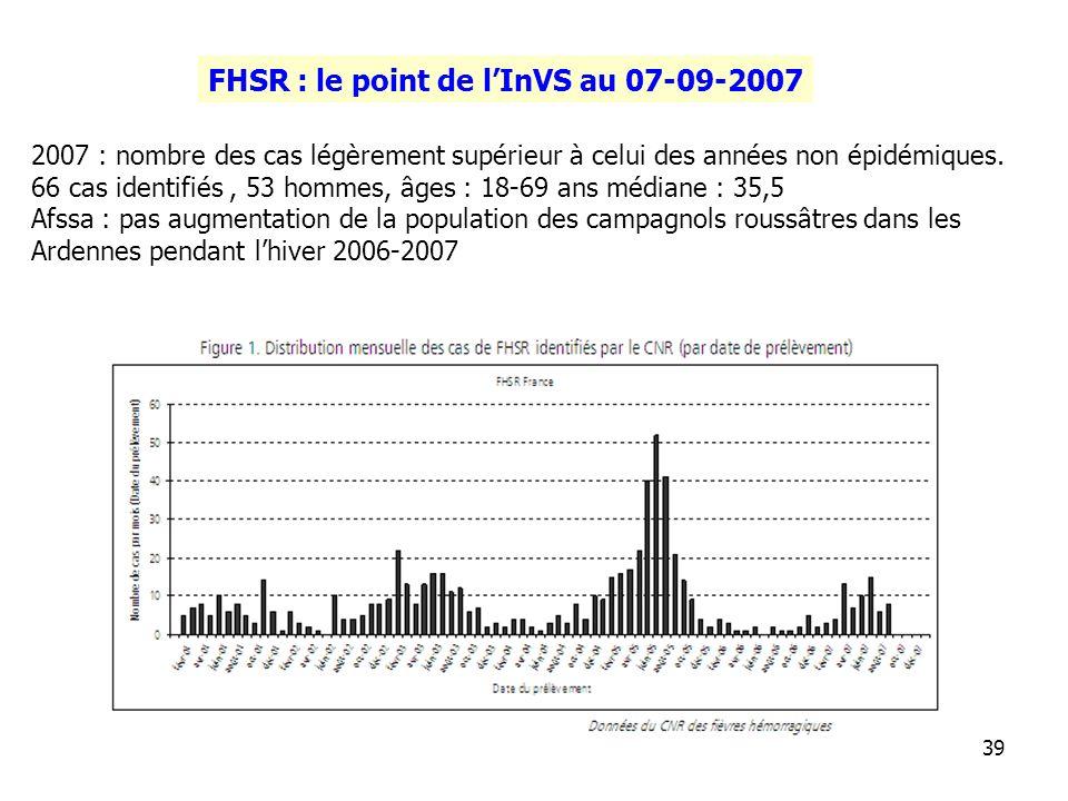 FHSR : le point de l'InVS au 07-09-2007