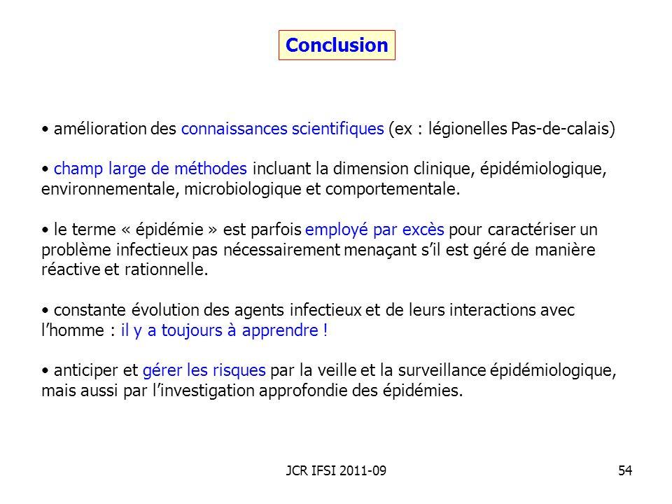 Conclusionamélioration des connaissances scientifiques (ex : légionelles Pas-de-calais)