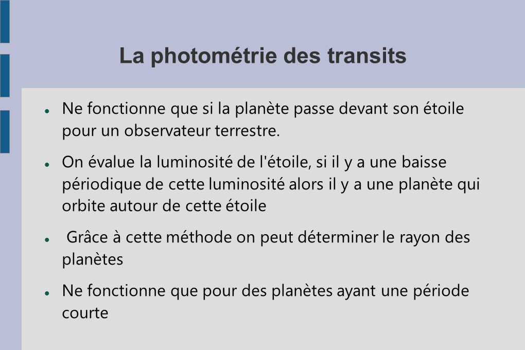 La photométrie des transits