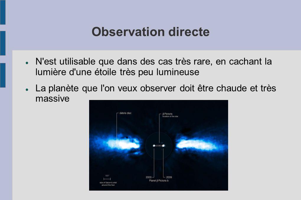 Observation directe N est utilisable que dans des cas très rare, en cachant la lumière d une étoile très peu lumineuse.