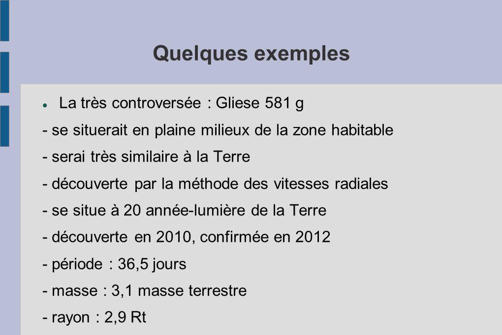 Quelques exemples La très controversée : Gliese 581 g