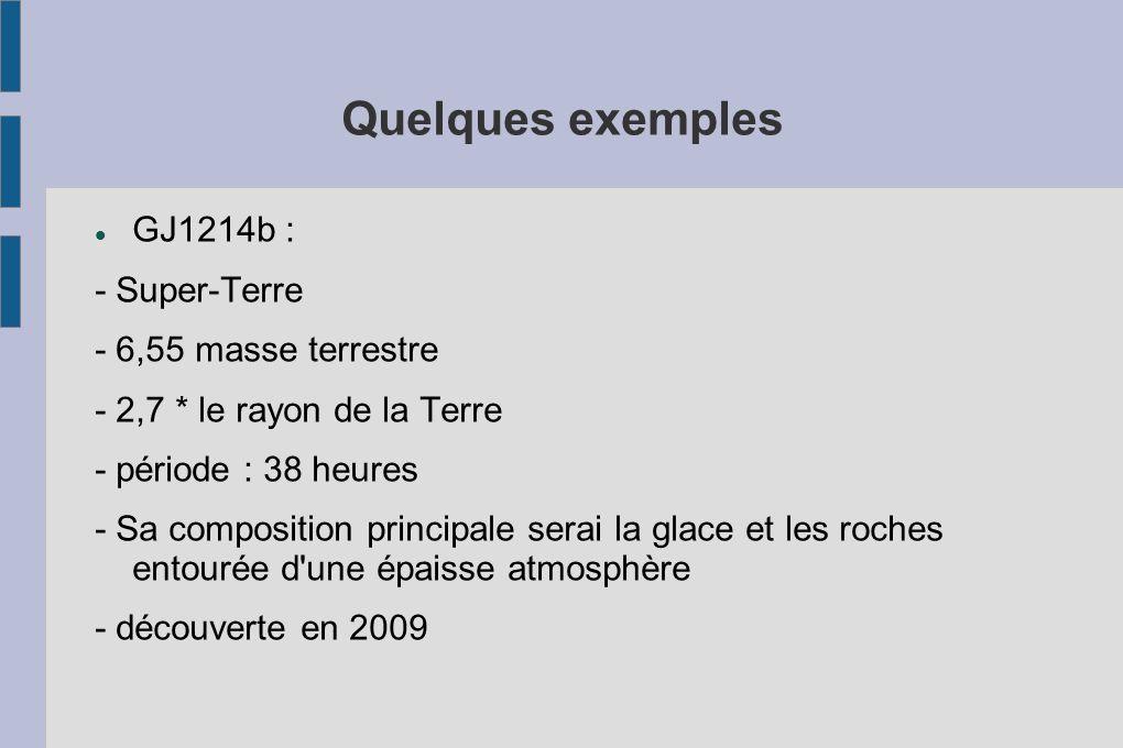 Quelques exemples GJ1214b : - Super-Terre - 6,55 masse terrestre
