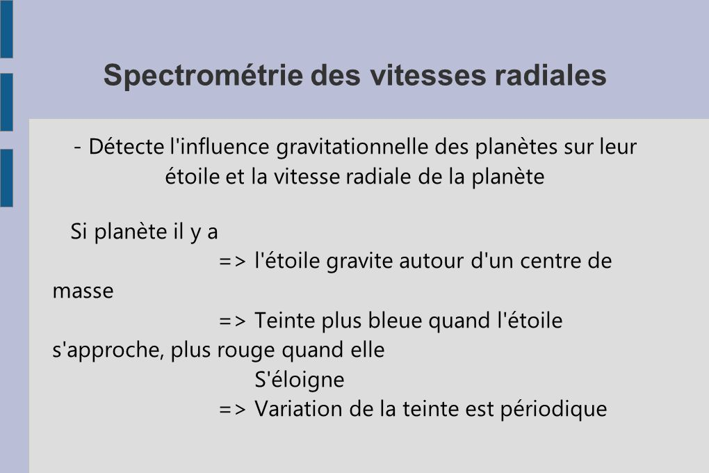 Spectrométrie des vitesses radiales
