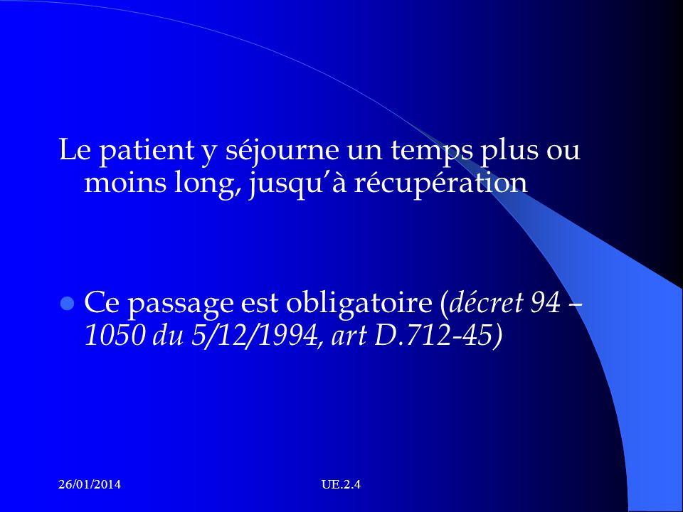 Le patient y séjourne un temps plus ou moins long, jusqu'à récupération