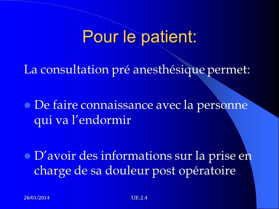 Pour le patient: La consultation pré anesthésique permet: