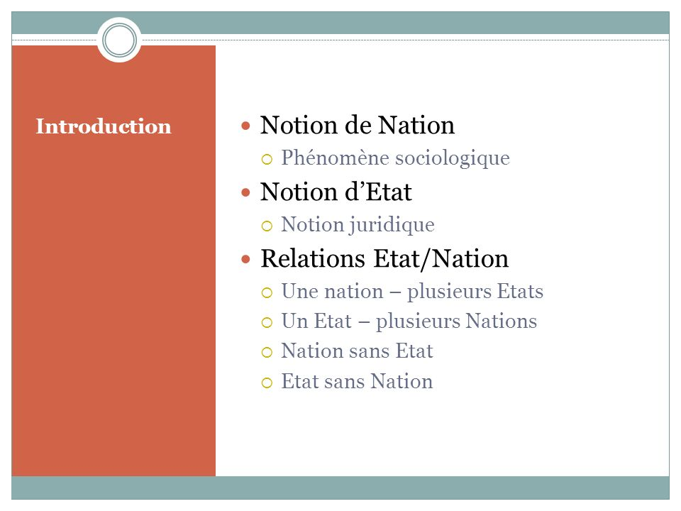 Relations Etat/Nation