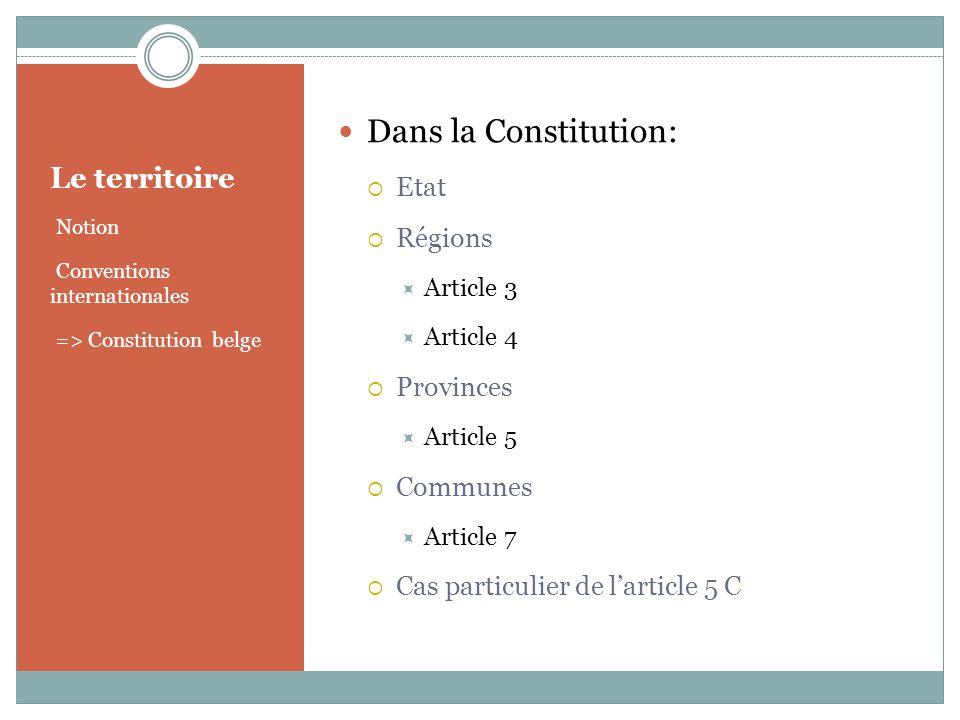 Dans la Constitution: Le territoire Etat Régions Provinces Communes