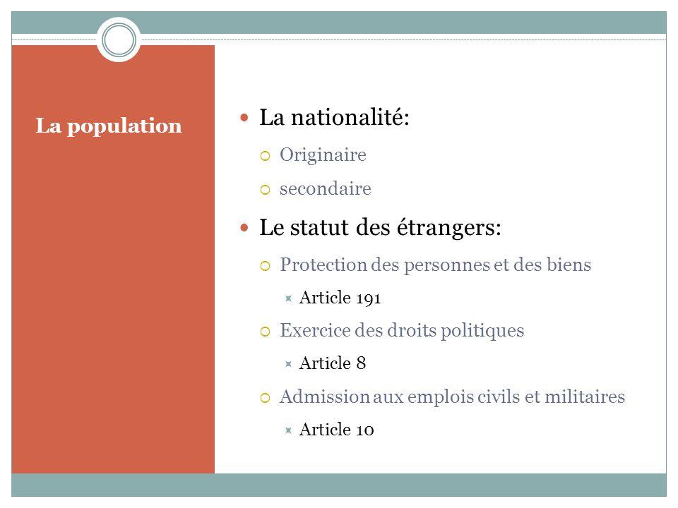 Le statut des étrangers: