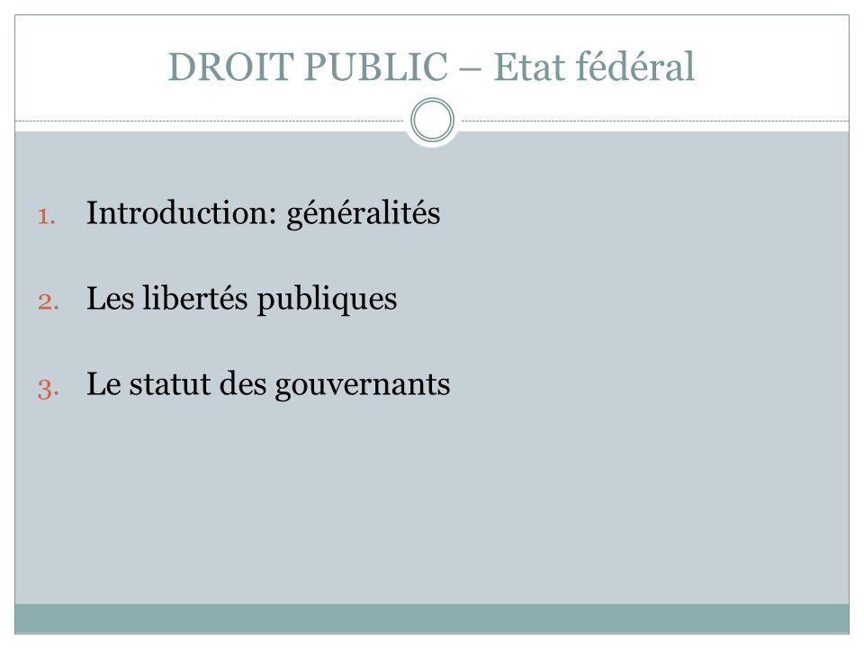 DROIT PUBLIC – Etat fédéral