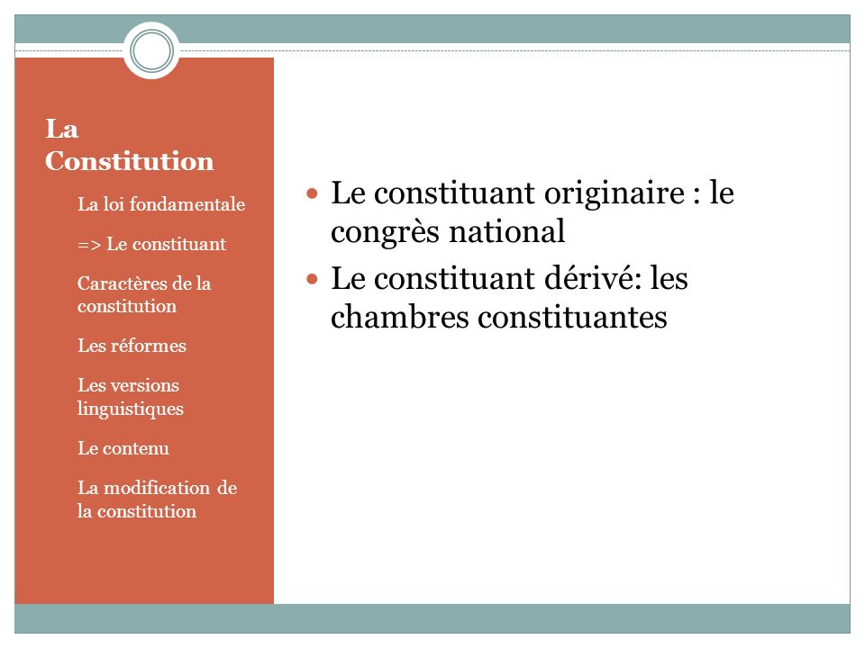 Le constituant originaire : le congrès national