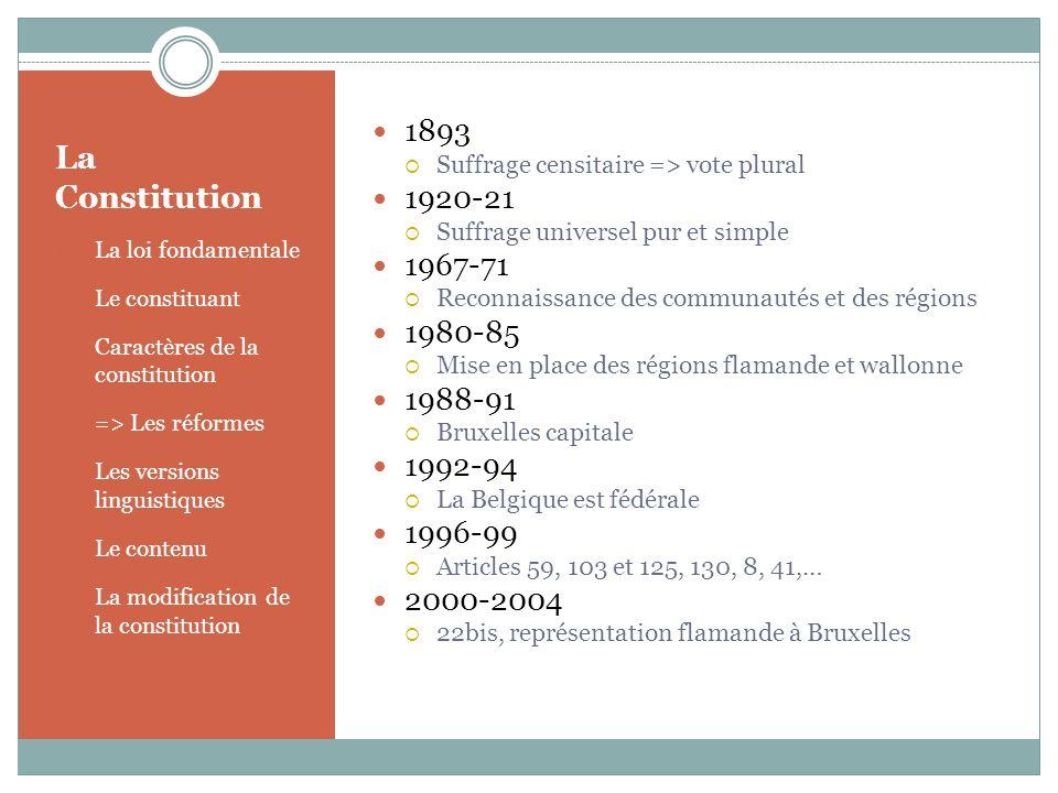 La Constitution 1893 1920-21 1967-71 1980-85 1988-91 1992-94 1996-99