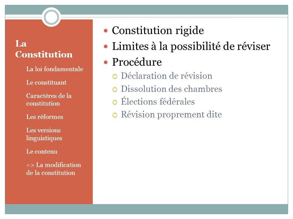 Limites à la possibilité de réviser Procédure