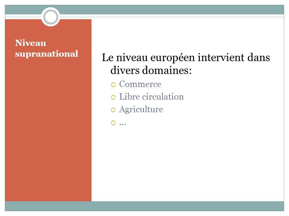Le niveau européen intervient dans divers domaines: