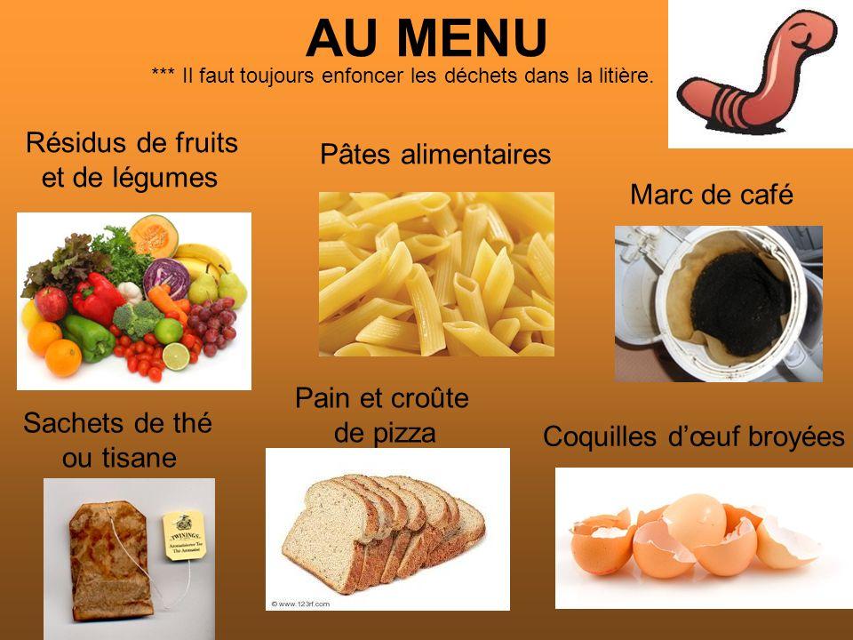 AU MENU Résidus de fruits Pâtes alimentaires et de légumes