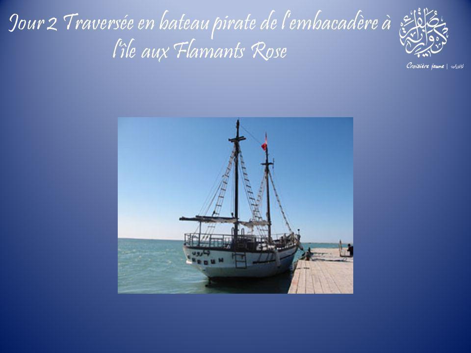 Jour 2 Traversée en bateau pirate de l'embacadère à l'île aux Flamants Rose