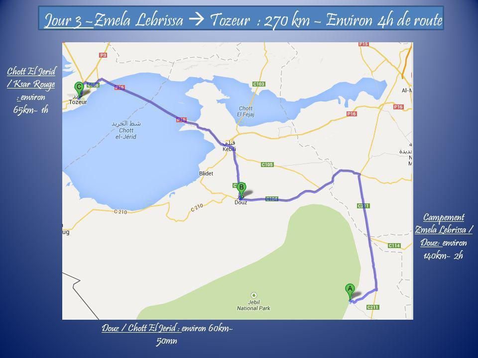Jour 3 –Zmela Lebrissa  Tozeur : 270 km – Environ 4h de route