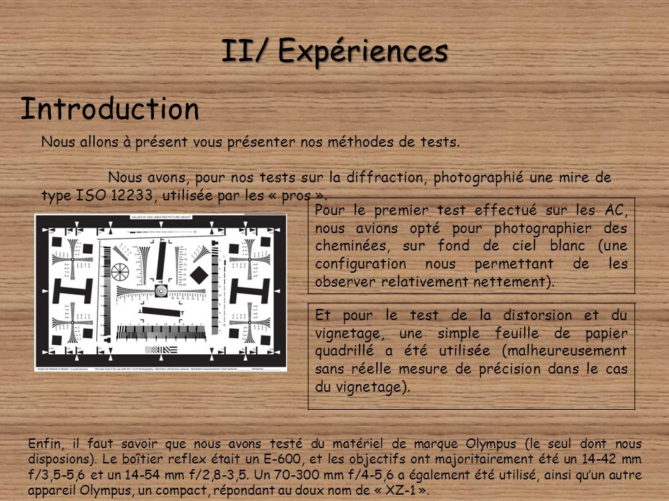 II/ Expériences Introduction