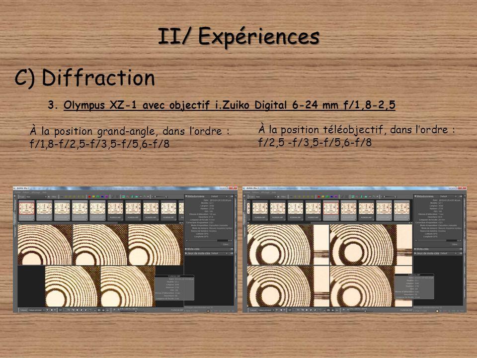 II/ Expériences C) Diffraction