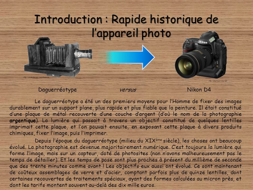 Introduction : Rapide historique de l'appareil photo