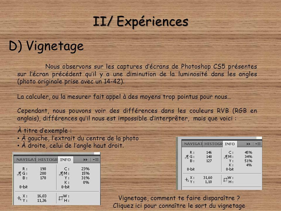 II/ Expériences D) Vignetage