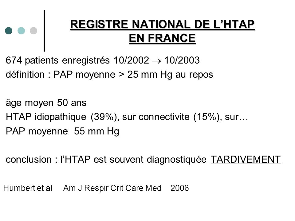 REGISTRE NATIONAL DE L'HTAP EN FRANCE