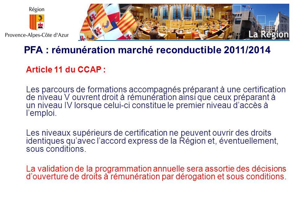 PFA : rémunération marché reconductible 2011/2014