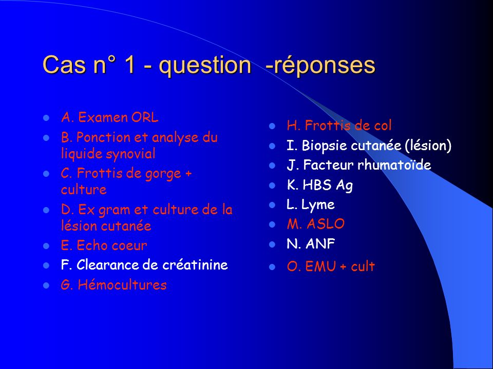 Cas n° 1 - question -réponses