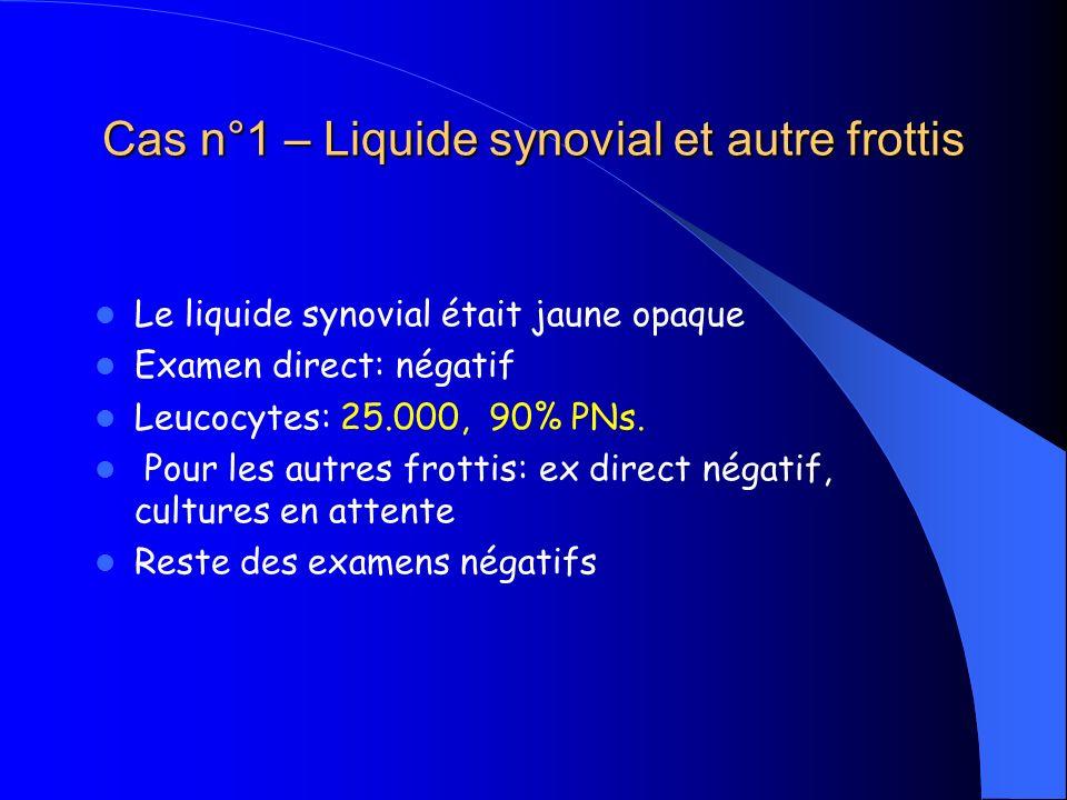 Cas n°1 – Liquide synovial et autre frottis