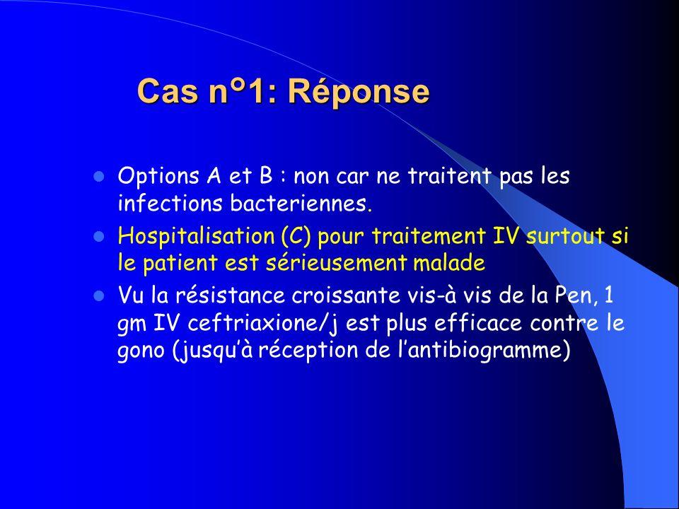 Cas n°1: Réponse Options A et B : non car ne traitent pas les infections bacteriennes.