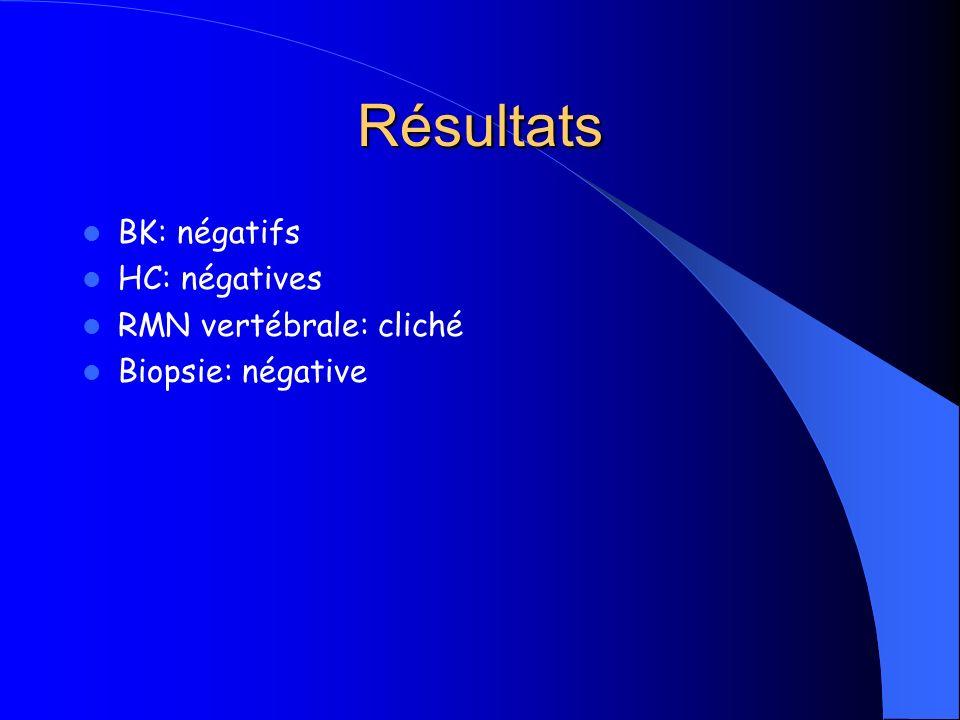 Résultats BK: négatifs HC: négatives RMN vertébrale: cliché
