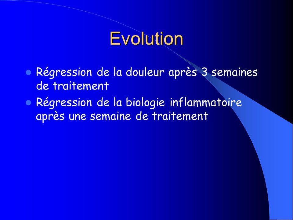 Evolution Régression de la douleur après 3 semaines de traitement
