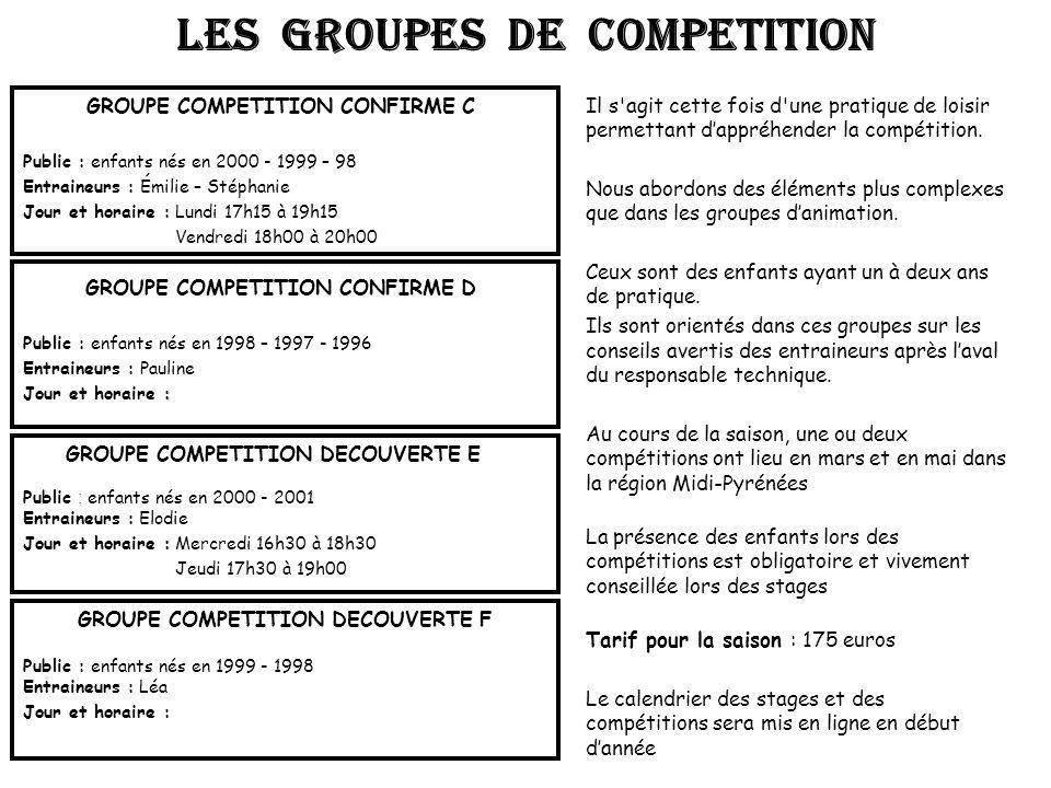 LES GROUPES DE COMPETITION
