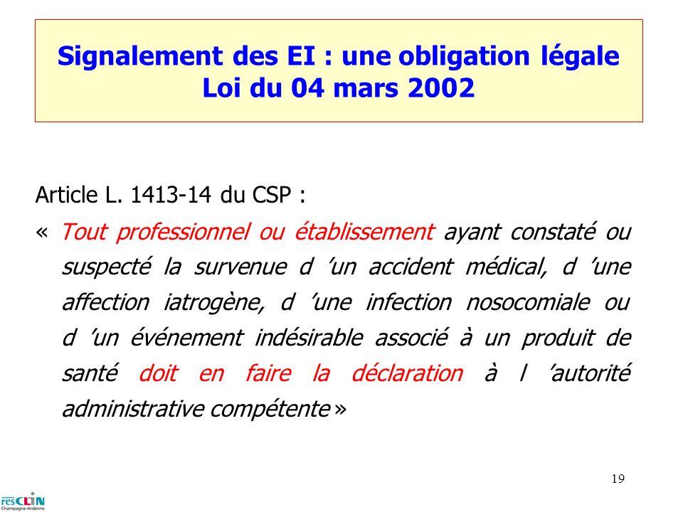 Signalement des EI : une obligation légale Loi du 04 mars 2002