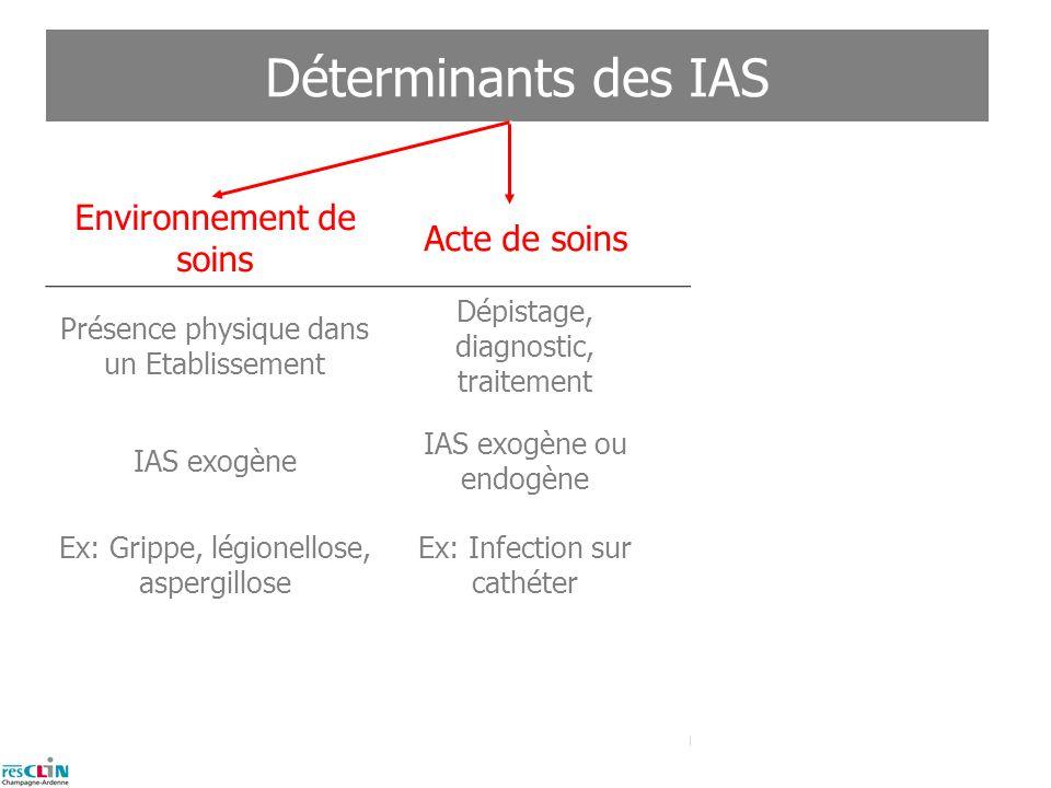 Déterminants des IAS Environnement de soins Acte de soins