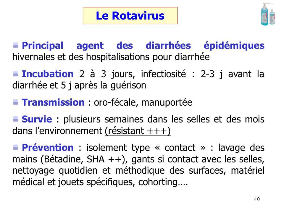 Le Rotavirus Principal agent des diarrhées épidémiques hivernales et des hospitalisations pour diarrhée.