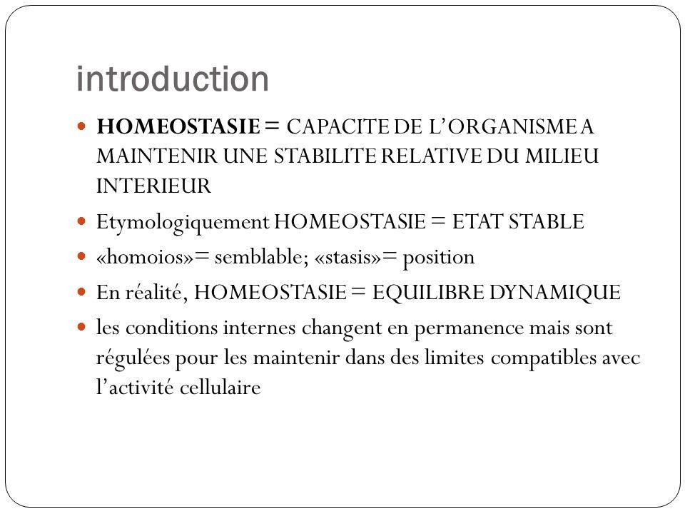 introductionHOMEOSTASIE = CAPACITE DE L'ORGANISME A MAINTENIR UNE STABILITE RELATIVE DU MILIEU INTERIEUR.