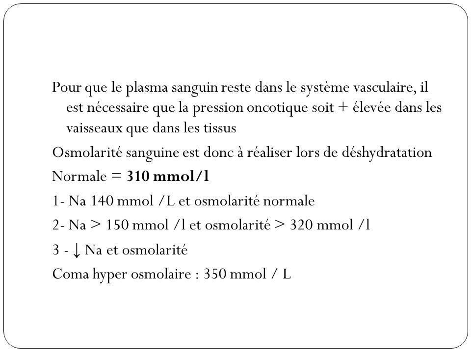 Pour que le plasma sanguin reste dans le système vasculaire, il est nécessaire que la pression oncotique soit + élevée dans les vaisseaux que dans les tissus