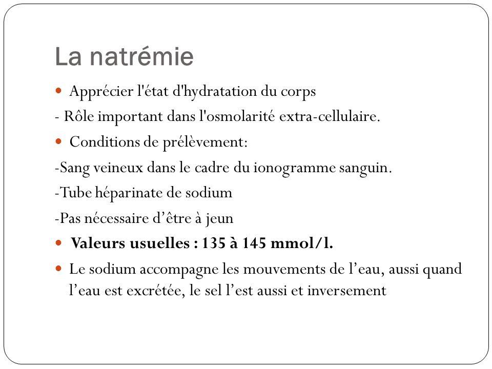 La natrémie Apprécier l état d hydratation du corps